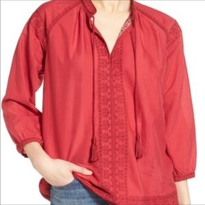 Madewell-Red Camelia Peasant Blouse Popover